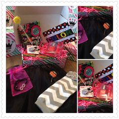 5-8 year old Posh Pak ---October box.  poshpak.com  #subscriptionbox #giftsforgirls #poshpak 8 Year Olds, Gifts For Girls, October, Boxes, Gift Wrapping, Dark, Color, Gift Wrapping Paper, Crates