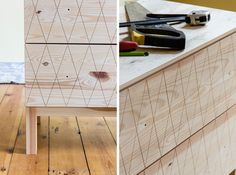 IKEA Hack Tarva commode decoupe geometrique - DIY Auguste et Claire