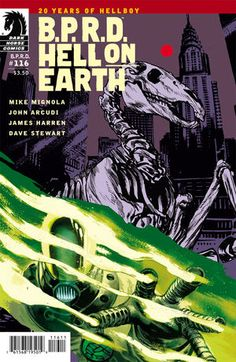 "B.P.R.D. Hell on Earth #116 (Rafael Albuquerque cover) :: Profile :: Dark Horse Comics- ""The BPRD joins a band of resistance fighters in the ruins of Manhattan to fight the Black Flame and his evil regime of Zinco troops and monsters!""   Writer:     Mike Mignola, John Arcudi Artist:     James Harren Colorist:     Dave Stewart Cover Artist:     Rafael Albuquerque"