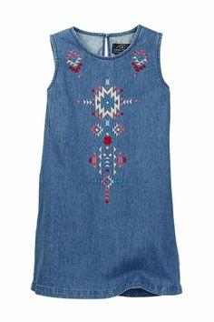 fd55c6e710 Lucky Brand Girls Sleeveless Embroidered Denim Shift Dress Cali Lucy Wash  3T 4T. Kids Fashion BoyGirl ...