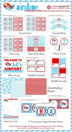 Airplane Party Package Personalized MINI Collection Set  - PRINTABLE DIY - PS818CA1y. $29.00, via Etsy.
