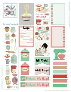 Free Baking Printable Planner Stickers