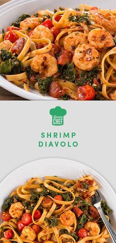 """Italian for """"brother devil,"""" fra diavolo is a fiery sauce that plays well with others: especially seafood and pasta. Here, cherry tomatoes, balsamic vinegar, and kale bring bring extra fresh and tangy notes to the sauce. It's tossed with shrimp and almond flour linguine for a paleo feast guaranteed to warm up a crisp night. Get the recipe (and even the ingredients!) at greenchef.com."""