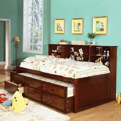 Twin Captain Bed With Twin Trundle With 3 Under Bed Drawers Cm7583-ch