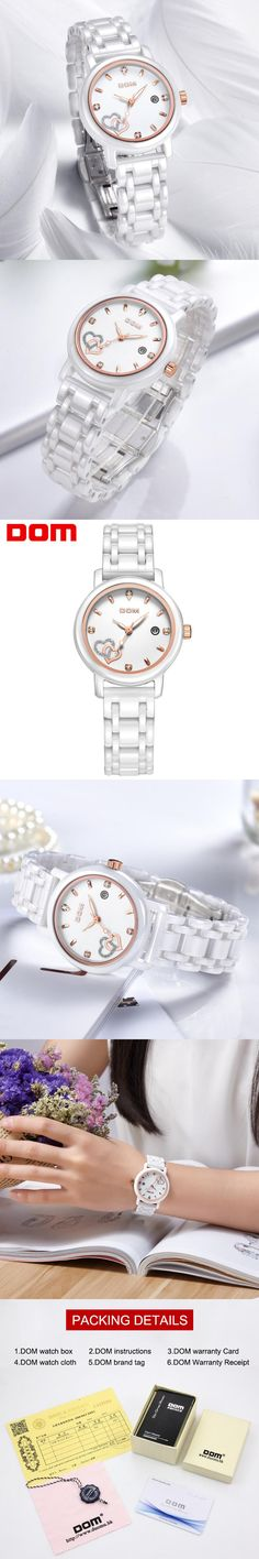DOM women luxury brand watches waterproof style quartz watch ceramic nurse watch reloj hombre marca de lujo T-580
