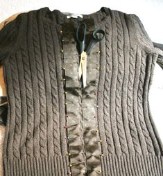 how to easy make a cardigan from a sweater.