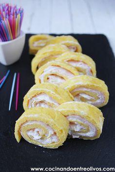Cocinando entre Olivos: Rollitos de tortilla, jamón y queso. Receta paso a paso