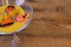 El Gazpacho de mandarina con mejillones y langostinos es una receta muy refrescante para tu menú de Cena de Fin de Año, que te hará quedar muy bien ante tus comensales. Lo único malo que tiene esta receta, por ponerla un pero, es que el gazpacho hay que hacerle justo antes de servirle en la mesa. Ya que de lo contrario adquiere un amargor desagradable al paladar. Gazpacho, Food Humor, Funny Food, Detox, Fish, Vegetables, Bar, Gourmet, Snacks