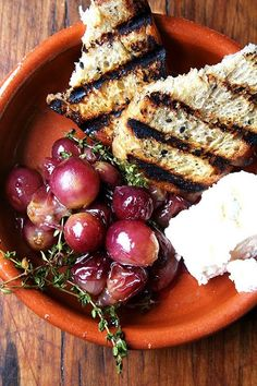 on the menu: roasted grapes with thyme, fresh ricotta and grilled bread - Sacramento Street