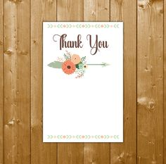 Tribal Boy Thank You Card, Tribal Baby Shower Boy, Baby Shower Thanks, WR001C, Instant Download