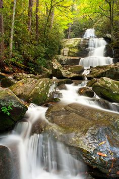Laurel Falls in Great Smoky Mountains National Park, USA