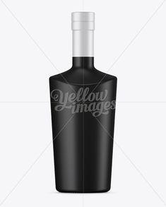 Black Mat Liquor Bottle Mockup - Front View