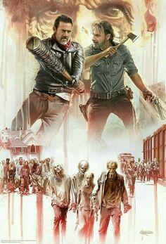 "Walking Dead All Out War Poster  24/"" x 36/""   Negan Rick Michonne Daryl  52489"