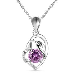 Fashion 925 Sterling Silver Necklace, Heart and Leaf Pendant with Violet AAA Zircon, Silver; Size:about 450mm in perimeter; Pendant: 18x12mm.<br/>Priced per 1