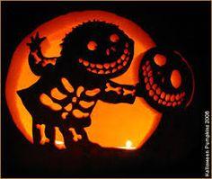 Carved Skeleton Pumpkin