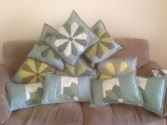 Dresden plate quilted cushion