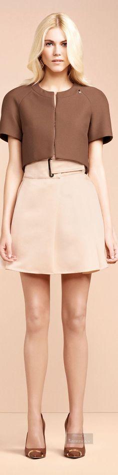 @roressclothes clothing ideas #women fashion brown capel, blush skirt Elisabetta Franchi.SS2015.