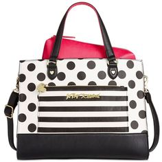 Betsey Johnson Bag-in-Bag Tote ($98) ❤ liked on Polyvore featuring bags, handbags, tote bags, dot, white tote, white tote bag, polka dot handbag, white tote handbags and white tote purse