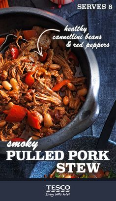 Smoky Pulled Pork Stew - Spoil yourself and your family with this delicious hearty stew of mouthwatering slow cooked pork with cannellini beans, red peppers and a citrus gremolata.    Prep time: 10 minutes Cook time: 220 minutes Servings: 8 people