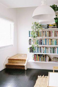 3 Valiant Cool Ideas: Minimalist Home Plans Apartment Therapy minimalist decor plants apartment therapy.Minimalist Home Style Life minimalist home interior decor.Minimalist Home Art Etsy. Bookshelf Styling, Bookshelves Built In, Book Shelves, Staircase Bookshelf, Bookcases, Bookshelf Ideas, Book Storage, Bookshelf Decorating, Bookshelf Plans