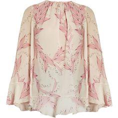 Giambattista Valli Cape-back Snowdrop-print silk-georgette blouse (27,305 EGP) ❤ liked on Polyvore featuring tops, blouses, light pink, silk georgette blouse, pink top, flare tops, print top and light pink top