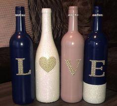 Rose Gold and white, Glitter, Wedding, Love, Wine Bottle Centerpieces Custom Wine Bottles, Wedding Wine Bottles, Painted Wine Bottles, Wine Bottle Centerpieces, Diy Centerpieces, Wine Bottle Crafts, Bottle Art, Altered Bottles, Wine Parties