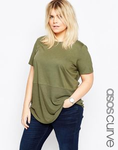 ASOS+CURVE+Contrast+Ribbed+Panel+T-Shirt