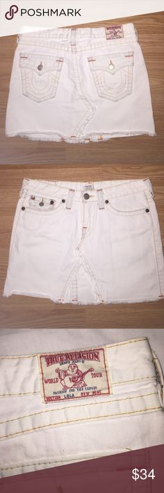 TRUE RELIGION DENIM SKIRT Size 29, length is 14.5 from top to bottom, orange stitching, cream colored. Very cute. 0 flaws True Religion Skirts Mini