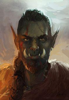 m Half Orc Barbarian Wilderness hills conifer forest Warrior portrait lg Fantasy Portraits, Character Portraits, Fantasy Artwork, Fantasy Kunst, Fantasy Rpg, Medieval Fantasy, Dungeons And Dragons Characters, Dnd Characters, Fantasy Characters