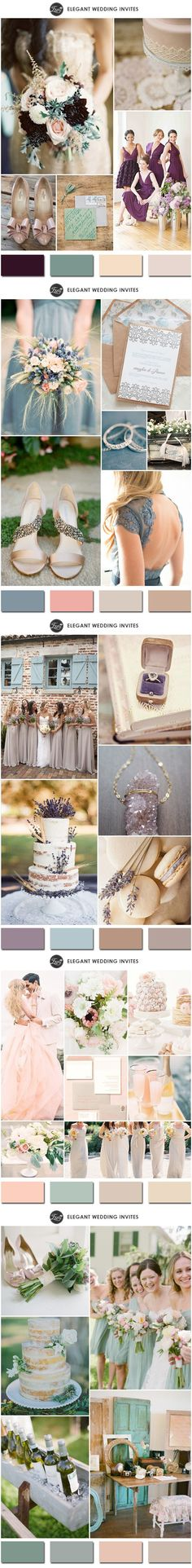 2015 Trending Neutral Wedding Color Ideas with Different Colors #weddingcolorsmy colors blue and drk plum