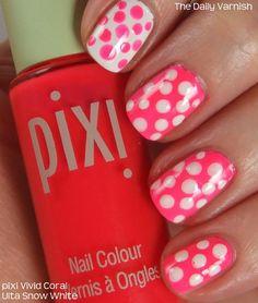 Neon nails with polka dots. Nails Yellow, Neon Nails, Diy Nails, Cute Nails, Dot Nail Art, Polka Dot Nails, Polka Dots, Pretty Nail Colors, Pretty Nail Designs