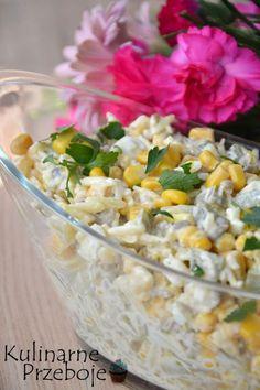 Chrupiąca sałatka z jajkami, kukurydzą i prażonym słonecznikiem Tortellini Salad, Pasta Salad, My Favorite Food, Favorite Recipes, Instant Pot Dinner Recipes, Cooking Recipes, Healthy Recipes, Food Inspiration, Feta