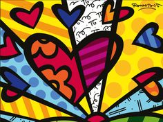 These amazingly colorful Romero Britto Art Projects for Kids are sure to brighten up your day! Check out art work, sculptures, collages and more! Arte Pop, Projects For Kids, Art Projects, Arte Elemental, Heart Painting, Posca, Tile Art, Wall Tile, Heart Art