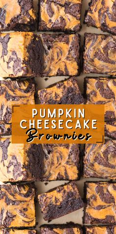 Pumpkin cheesecake brownies are a favorite fall pumpkin dessert! These cheesecake brownies are the right amount of fudgy and chewy with a ribbon of pumpkin cheesecake swirled in. #pumpkinbrownie #cheesecakebrownie #pumpkincheesecakebrownie #brownies