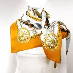 Authentic Vintage Hermes Silk Scarf by Philippe Ledoux L'Hiver en Poste 1975