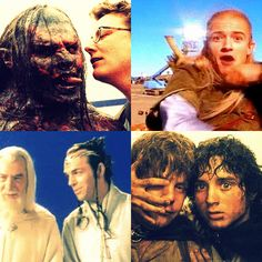 behind the scenes on the lord of the rings trilogy// top right in the second lot of gifs made me jump!