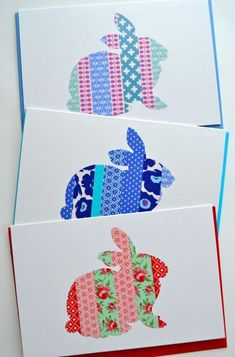 handmade Washi tape cards - bunny rabbits die cut from cardstock with color-coordinated strips of washi ... cute set!