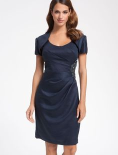 Scoop Neckline Sheath Mother of the Bride Dress with Diagonal Seaming Bodice - Bridal Party Dresses - RainingBlossoms