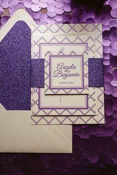 Purple Wedding Invitation Purple Glitter by FlairNecessities Запрошення 058c97c4149cf