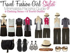 """Minimalista Travel Outfits This Travel Fashion Ultra Light Packing List includes:  1) 1 tank top in a neutral color  2) 1 button up long sleeve shirt in the same color palette  3) 1 dark set of convertible pants 4) 1 plain """"little black travel dress""""  5) 1 travel handbag  6) 5 travel accessories: 2 scarves, 1 pair of earrings, 1 belt, and 1 hat  7) 1 pair of flip flops  8) 1 pair of sunglassses"""