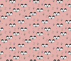 Sweet baby koala bears fun kids animals with geometric detailing girls pink fabric - surface design by Little Smilemakers on Spoonflower - custom fabric and wallpaper inspiration for kids clothes fun fashion and trendy home decorations.