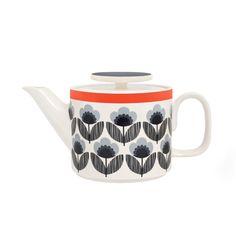 Orla Kiely Teapot in Poppy Meadow Blue: Holds 1 L. $63.97