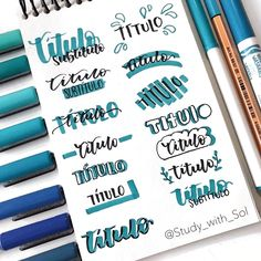 Creative journal title - titulo :) - This bule journal planner inspiration is created by artist on IG. ✏ Stationery we -