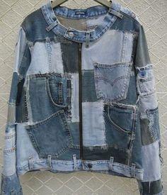 64 Super Ideas Patchwork Jeans Diy Inspiration - Image 23 of 25 Diy Jeans, Sewing Jeans, Kleidung Design, Diy Kleidung, Denim Ideas, Denim Trends, Recycled Fashion, Recycled Denim, Artisanats Denim
