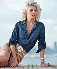 Model Aline Weber in casual chic denim jeans mix with neutral tan by Chris Colls for the Winter Escape 2014 issue of Porter Magazine. Work Skirts, High Waisted Pencil Skirt, Women's Summer Fashion, Fashion 2014, Woman Fashion, Mode Inspiration, Fashion Inspiration, Editorial Fashion, Magazine Editorial