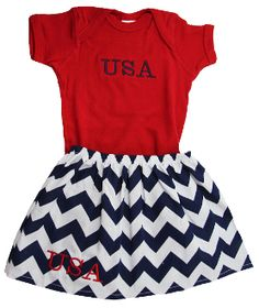 USA Girly Skirt Set • 2 pieces  • Blue and White Chevron Girly Skirt with monogrammed USA  •Red Onesie or T-Shirt with monogrammed USA $17.99