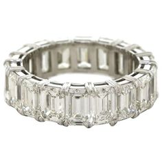 8.0 carats total weight Emerald Cut Diamond Platinum Eternity Band | From a unique collection of vintage bridal rings at https://www.1stdibs.com/jewelry/rings/bridal-rings/