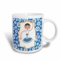 3dRose Indian dancer cartoon, Ceramic Mug, 15-ounce