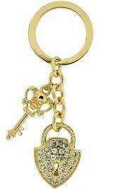 Key to my heart <3  Alexander Kalifano Lock And Key Crystal Keychain In Gold