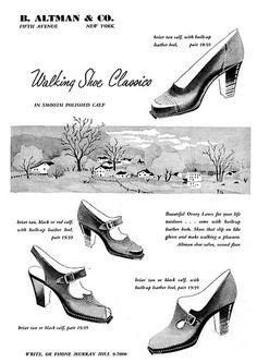 Walking shoe classics, 1950. #vintage #1950s #shoes #ads